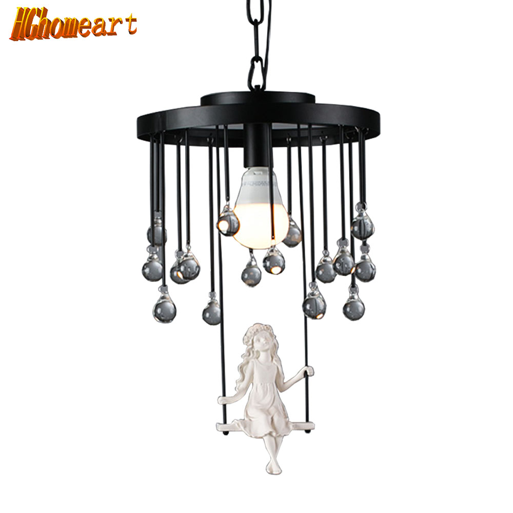 HGHomeart Modern Crystal Chandelier LED Cartoon Chandeliers Lustre Suspension Kids Room luminarias Wrought Iron Lamp Lighting hghomeart kids room cartoon led chandelier flower lustre led 110v 220v e14 led chandeliers home lighting chandelier baby