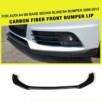 Carbon Fiber / FRP Car Front Bumper Lip Spoiler Chin Guard Splitters for Audi A4 B8 S4 S line Sedan 4 Door 2009 2012