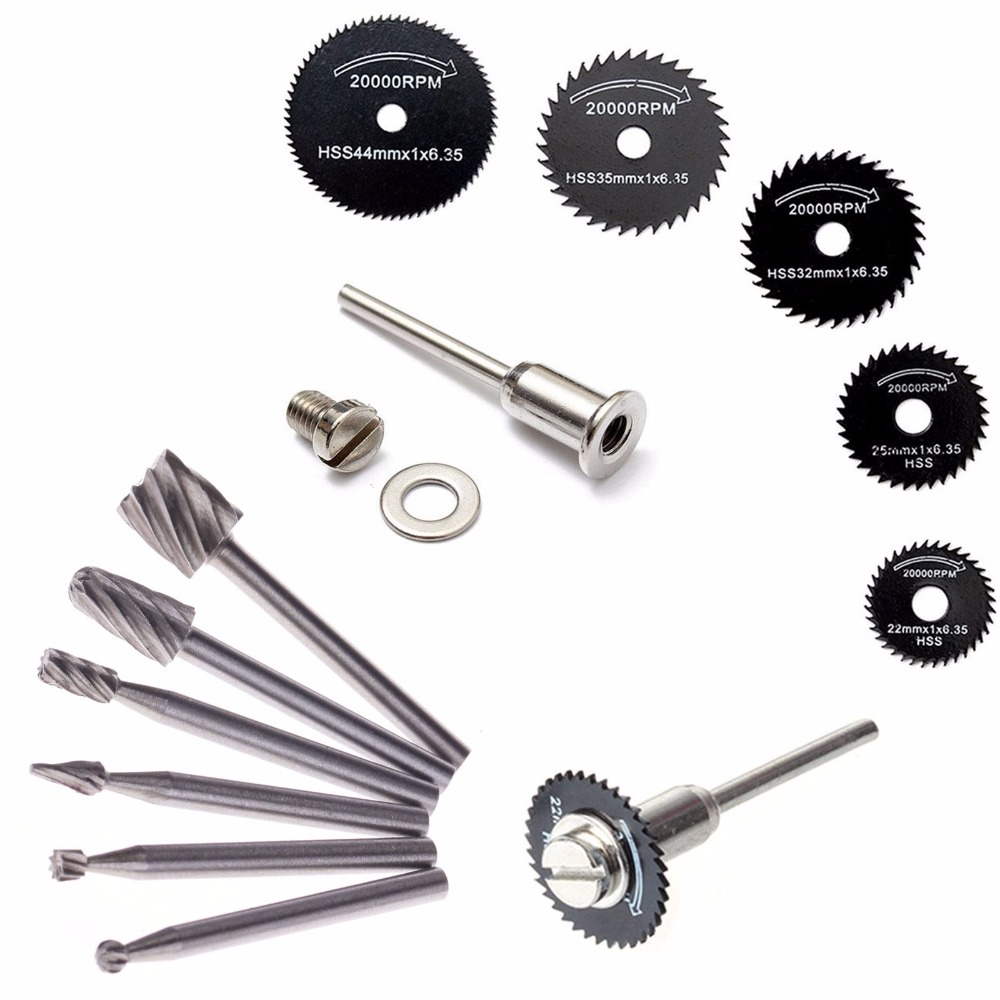 ZFE 6Pcs HSS Rotary Circular Saw Blades Set & 6pcs HSS Routing Router Bits Burr Sets For Proxxon Dremel Rotary Tools 10pcs hss routing router grinding bits burr file set milling cutter 1 8 inch shank for dremel engraving wood rotary tool