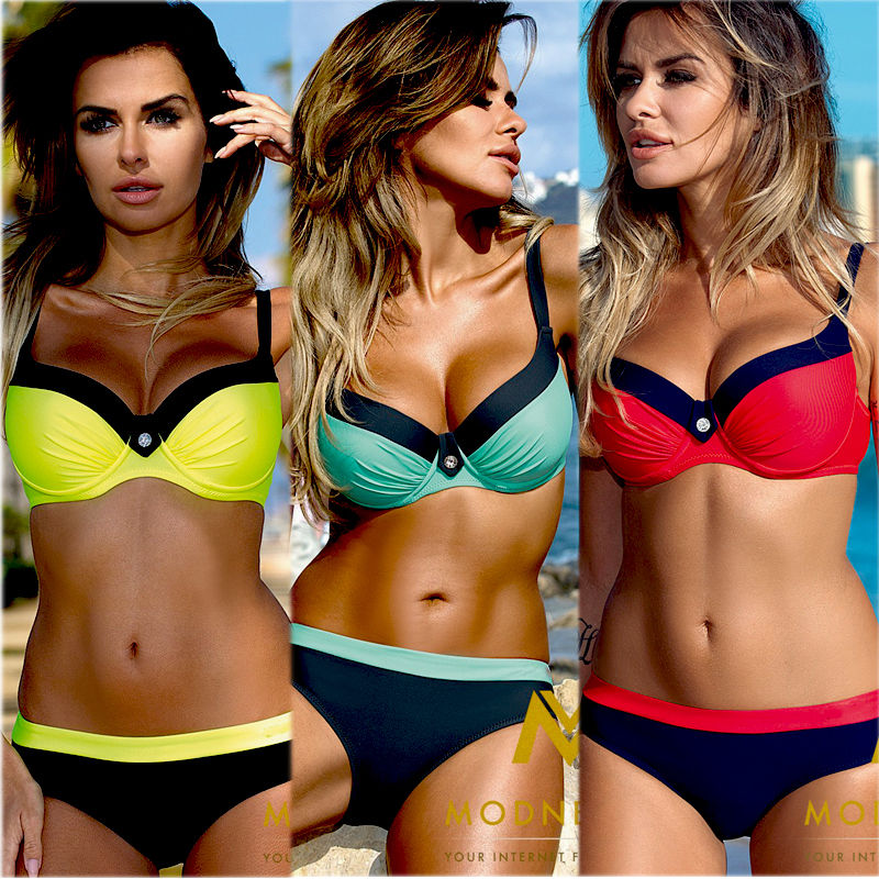 <font><b>Sexy</b></font> Women Push-up Padded 2pcs Brazilian <font><b>Bikini</b></font> Set Swimsuit Swimwear Monokini Low Waist Bathing Suit <font><b>Beachwear</b></font> Plus Size <font><b>XL</b></font> image