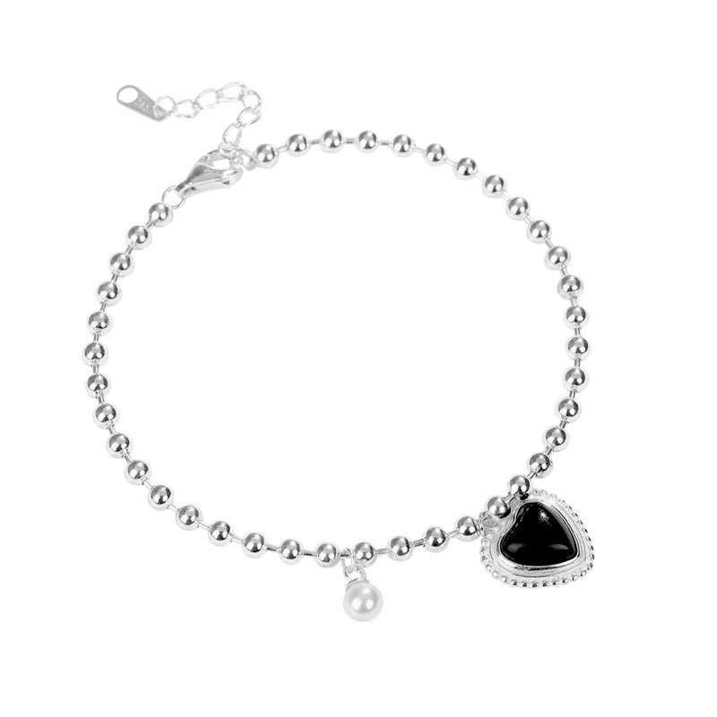 100 925 Sterling Silver Black Agate Charm Bracelets For Women Light Luxury Heart Bracelets Bangles Wonder Woman Peal Bracelet in Bracelets Bangles from Jewelry Accessories