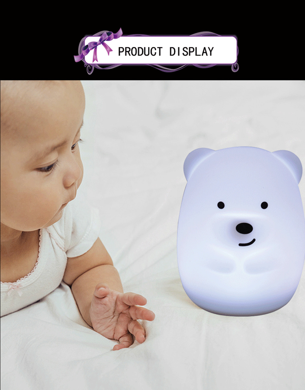 SuperNight Cute Bear Dog Monkey Fox LED Night Light Touch Sensor Colorful Silicone Cartoon Table Lamp for Children Kids Baby (8)