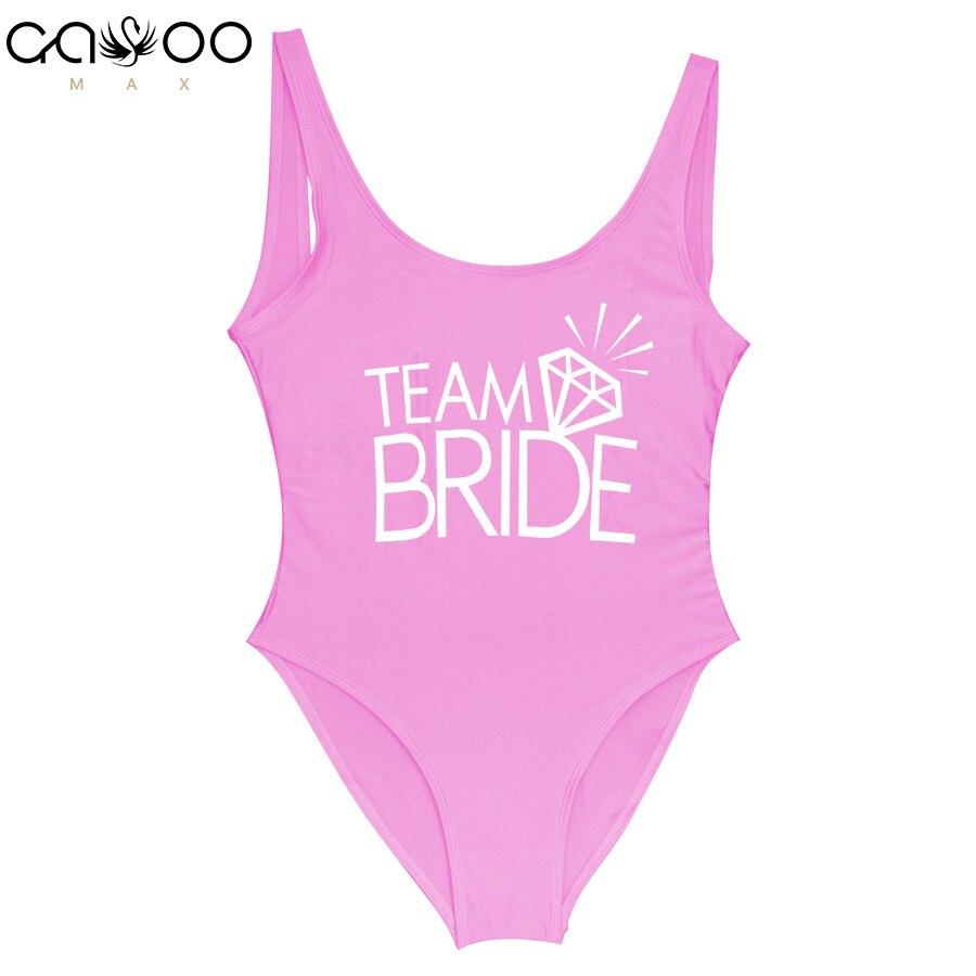Team BRIDE Letter Print Diamond Pattern One Piece Swimsuit Women Swimwear Monokini Sexy Bodysuit Jumpsuit Bathing Suit Wedding