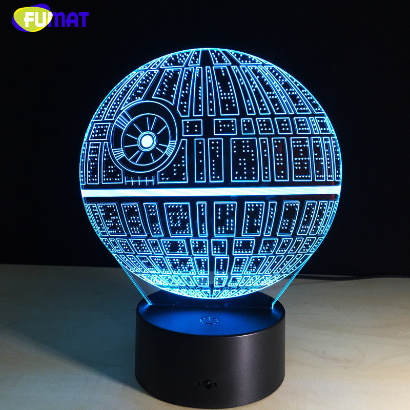 FUMAT New 3D The Force Awakens Night Light Creative 7 color Changing LED Death Star Light USB LED Child Gift Lights 3D Lamp