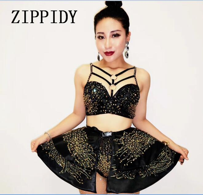 Fashion Women Black Rhinestones Sexy Bra Skirt Set Costume Outfit Nightclub Bar Evening Party Singer Stage Performance Clothing
