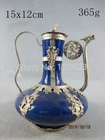 Tibetan Miao Silver Hand tibet silver dragon art blue porcelain Teapot Antique Garden Decoration 100% real Tibetan Silver Brass