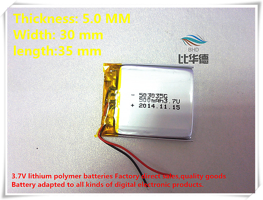 (free shipping) 3.7V Battery <font><b>053035</b></font> 500mah lithium-ion polymer battery quality goods of CE FCC ROHS certification authority image