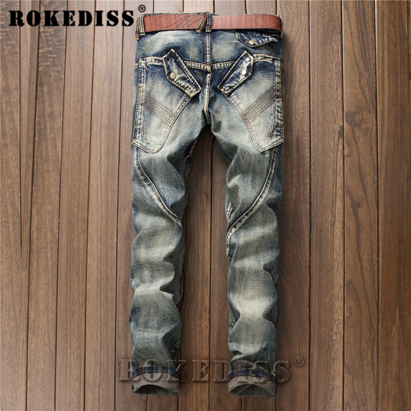 Skinny jeans men 2017 Spring and Autumn New personality Splicing Retro Straight pants Punk style locomotive trousers Men C167