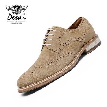 цена DESAI 2019 New Business Dress Shoes Men Genuine Leather Casual Shoes Carved Brogue Gentleman Shoes Formal Men Wedding Shoes онлайн в 2017 году
