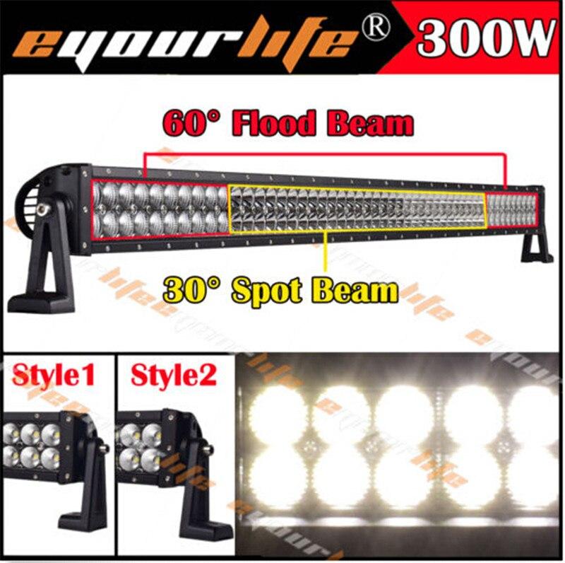 Комбо 300 Вт Eyourlife из светодиодов бар 52/сочетание 54Inch длинные лампы черное пятно наводнение комбо работы бар внедорожник 4x4Offroad дальнего света бар