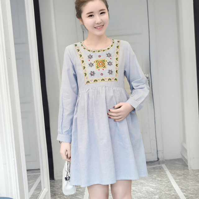a7d4792e25f0b Korean Maternity Dresses Clothing Premama Vestido Blue Embroidery Dress For  Pregnant Women Pregnancy Wear Casual Dress Clothes