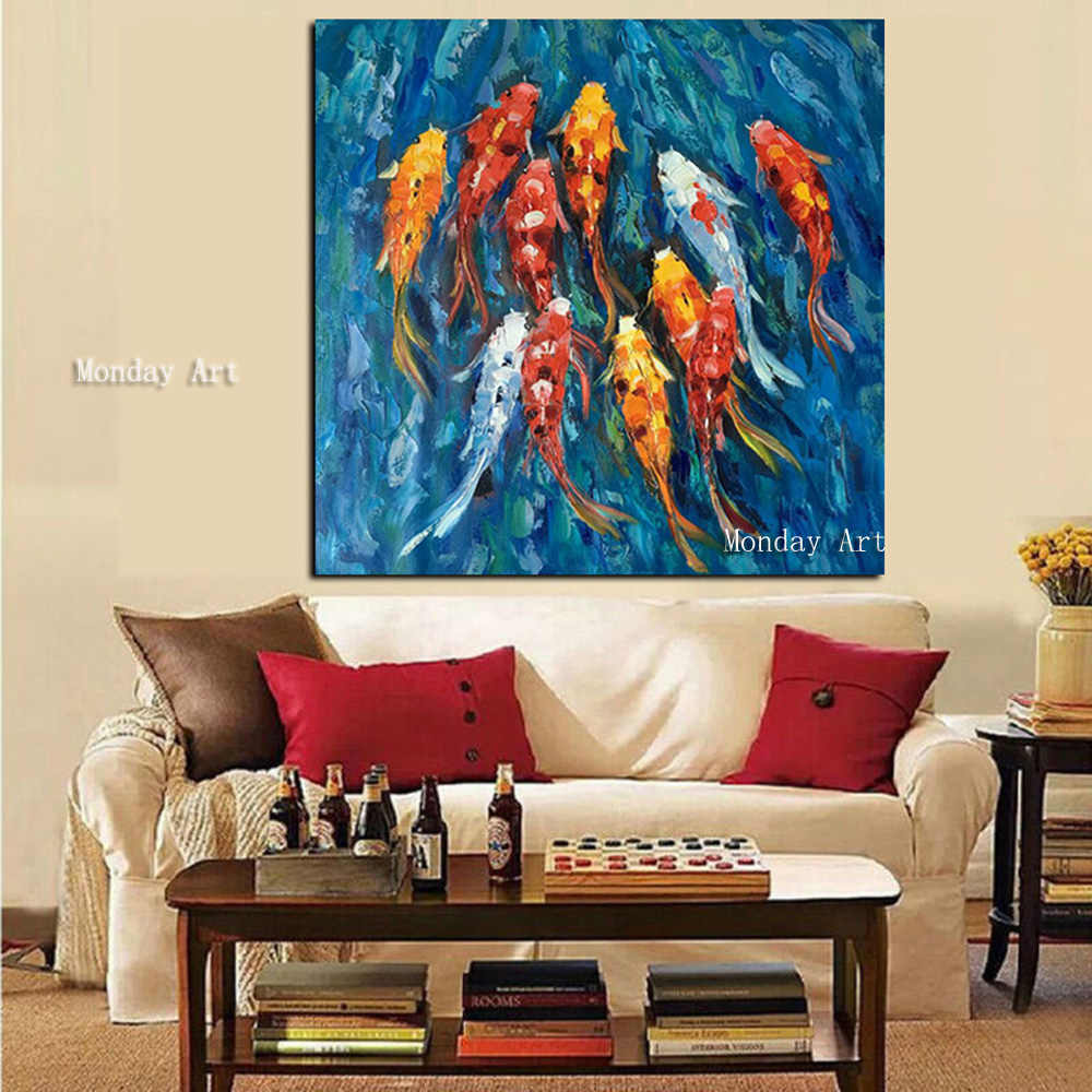 Large best Handpainted Goldfish Oil Painting Modern Animal Fish carp Painting For Home Decoration Wall Art Chinese koi Picture