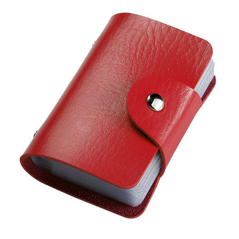 24 Bits Fashion New Women Men Credit Card Holder PU Leather Hasp Unisex ID Holders Package Organizer Manager Free Shipping