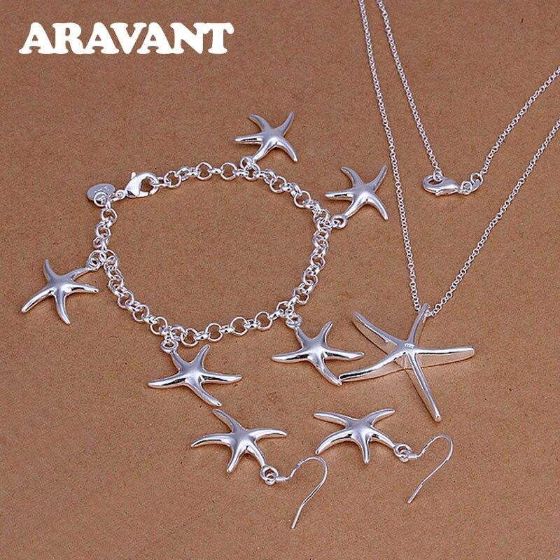 Conjunto de joyería para mujer, de plata 925, colgante romántico de estrella de mar, collar, pendiente, pulsera, conjunto de joyería, regalo de San Valentín
