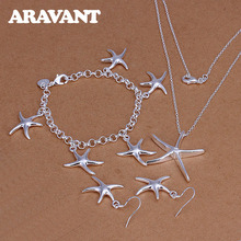 925 Silver Jewelry Set For Women Romantic Starfish Pendant Necklace Earring Bracelet Jewelry Set Valentine Gift