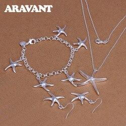925 Silver Jewelry Set For Women Romantic Starfish Pendant Necklace Earring Bracelet Jewelry Set Valentine Gift