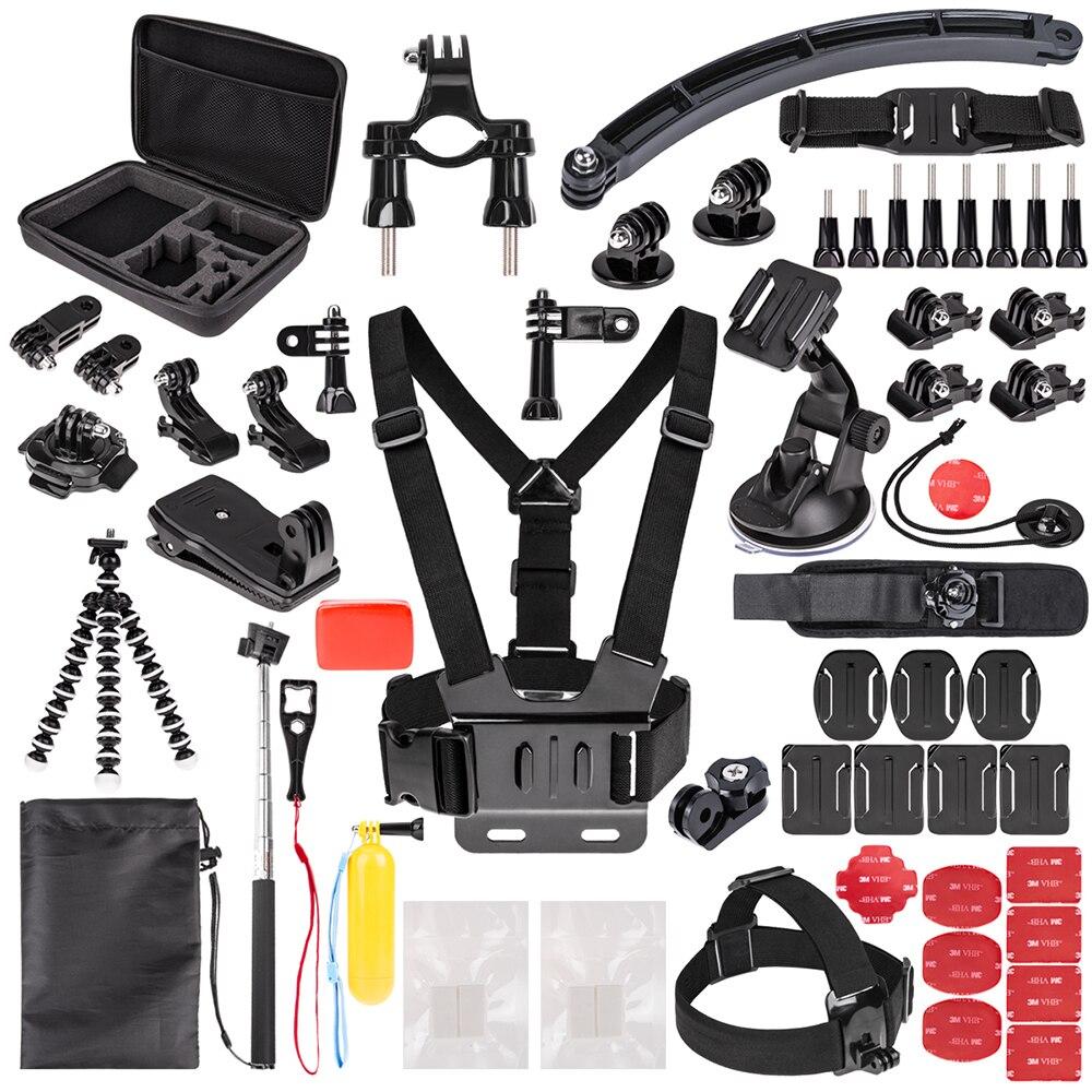 Kit d'accessoires de caméra d'action sportive pour GoPro Hero6 5 noir, Hero 5 4 3 DBPOWER, AKASO, APEMAN, SJCAM, caméra Sport XIAO YI