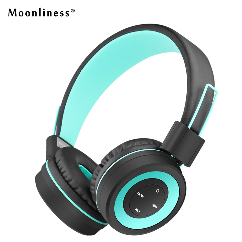 Moonliness Wireless Headphones Bluetooth Portable Headphone Stereo HIFI Headsets with MIC Play Music for Girls Auriculares new portable hifi audio stereo wireless bluetooth headphone with mic speaker for sports music