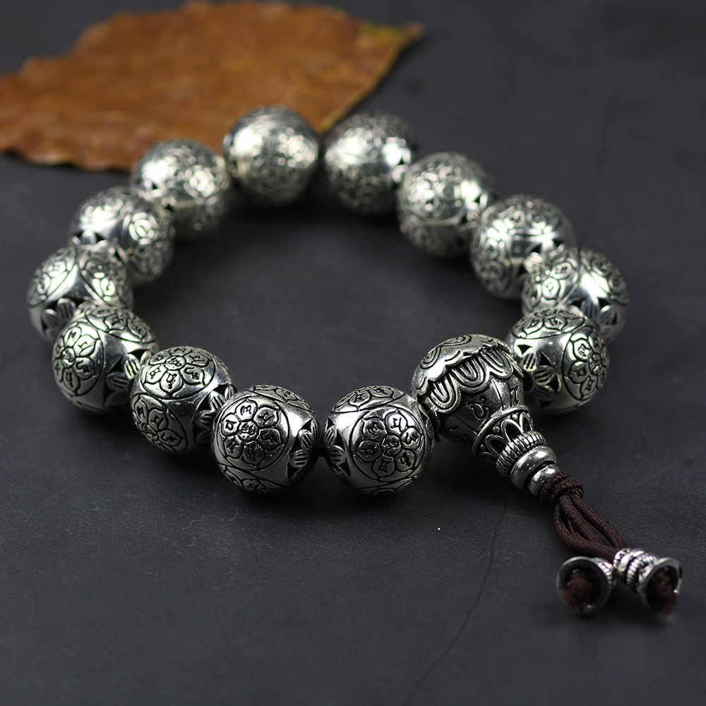 925 Sterling Silver Tibetan Buddhism Bracelet For Men And Women Six Words Mantras OM MANI PADME HUM Antiqued Metal Amulets Beads 16mm round sandalwood thai silver beads bracelet for women buddhism six letter scripture women men fine silver 990 jewelry sb69