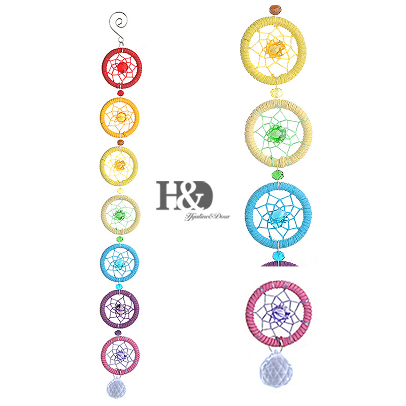 Chakra Dream Catcher Wall Hanging Decoration Ornament for Car Party Home Decor 18.5*2 Inches