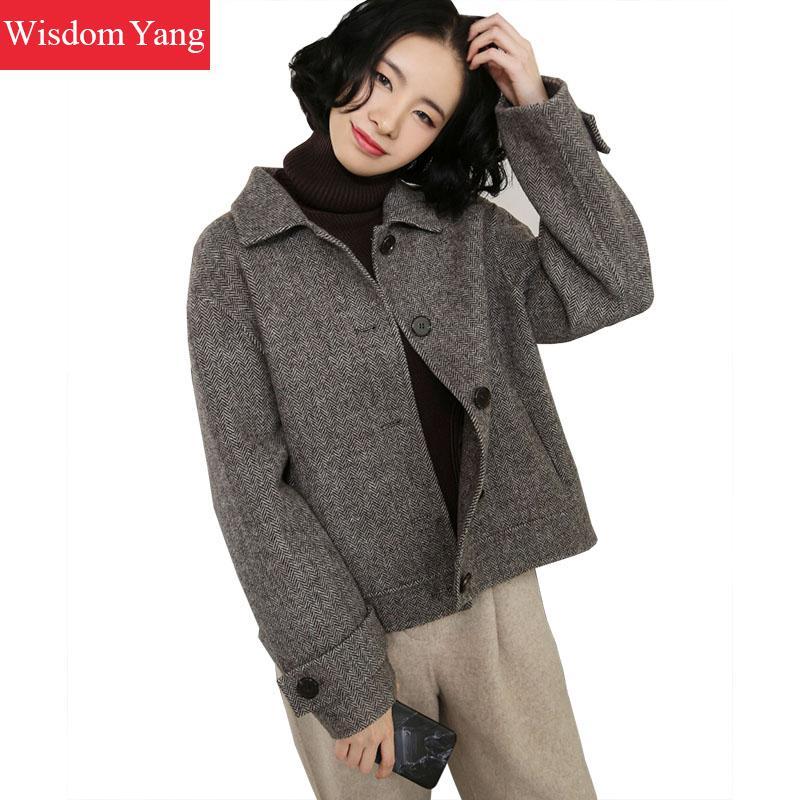 7a4c8b3ba US $94.0 47% OFF|Elegant Autumn Winter Jackets Wool Women Coats Warm Female  2018 Grey Beige Overcoat Woolen Woman Short Jacket Coat Outerwear-in Wool  ...