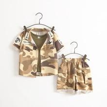 2016 Baby Children Set  Summer Casual Cotton Children Short Sleeve Camouflage T-shirt + Short Pants Suits Boy Girl Clothing Sets