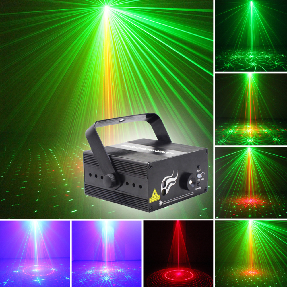 DIU# 2 Lens 16 Patterns Club Bar RG Laser BLUE LED Stage Lighting DJ Xmas Party 200mw show Professional Projector Light Disco 3 lens 36 patterns rg blue mini led stage laser lighting professinal dj light red gree blue