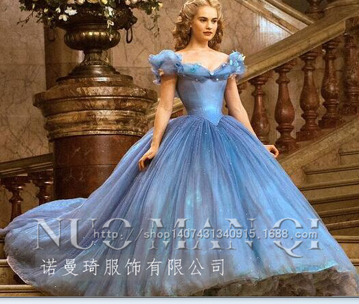 Hot Sale 2016 New Movie Deluxe Blue Cinderella Wedding Dress Costume Bridal Adult