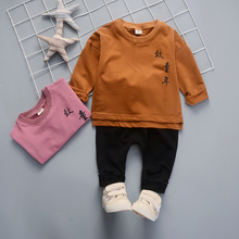 DIIMUU Toddler Baby Boys Girls Clothing Casual Cotton 2pcs Outfits Long Sleeve Children Pullovers Printing Fashion Tracksuits