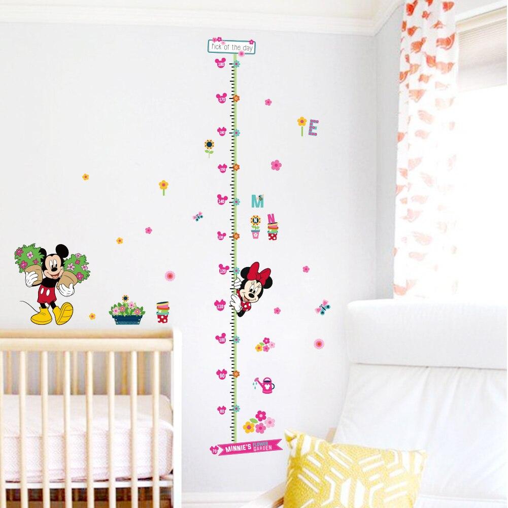 Minnie mickey carta de crecimiento tabla de medida medida pegatinas de pared par