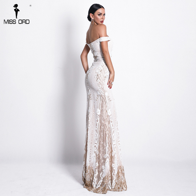 Missord 2019 Sexy One Shoulder Backless Sequin Dresses Female Elegant Retro geometry Party Bodycon Reflective Dress FT18623 4