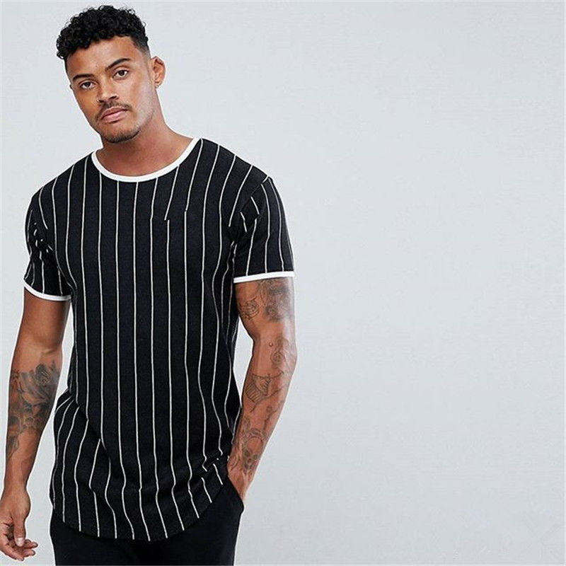 BAODINONG Tshirt Stripe Printed Stitching O-neck Short-sleeved Slim Fit Black Army