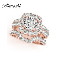 AINUOSHI 925 Sterling Silver Rose Gold Color Women Ring Sets 1ct Round Cut Engagement Wedding Anniversary Halo Ring Sets Jewelry