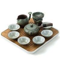 Japanese style Kung Fu Tea Set tea Tray Whole Ceramic Tea Set Living Room Household Simple Pottery Tea Cup Teapot teaware set