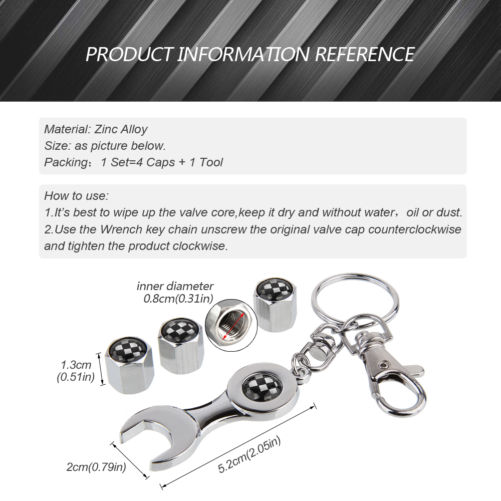Set of 4 Tire valve stems Caps with Wrench Keychain For Lexus