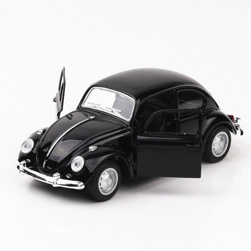 1/32 VW escarabajo modelos de aleación de coche clásico simulación Pull Back juguetes de Metal modelo de vehículo para hornear pastel decoración juguete para regalos