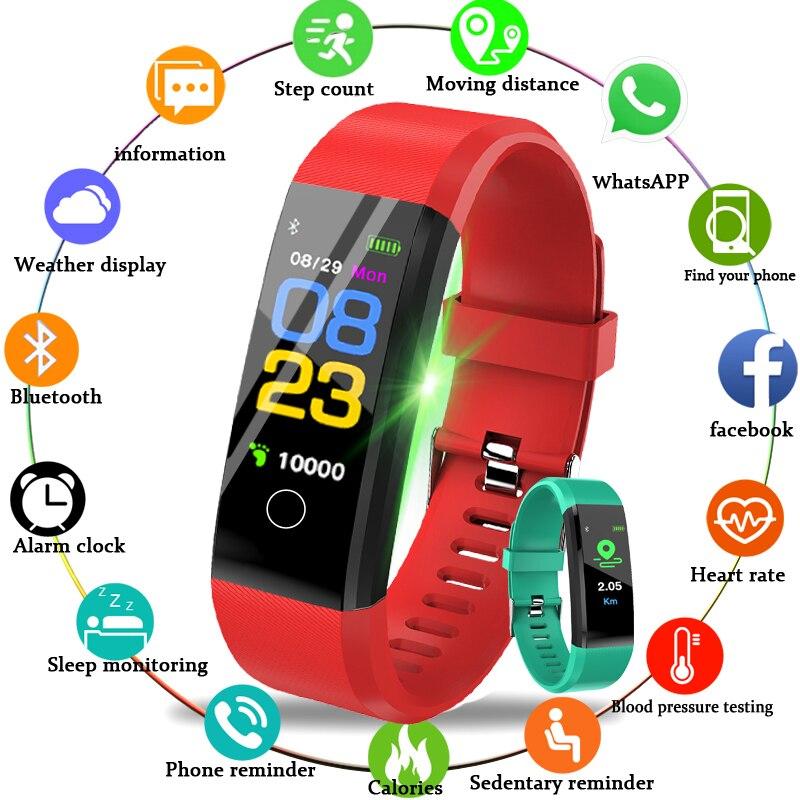 Nuova Smart Orologio Da Polso Per Il Fitness Frequenza Cardiaca Pressione Sanguigna Pedometro Sport Donne Degli Uomini Della Vigilanza Smartwatch Per IOS Android