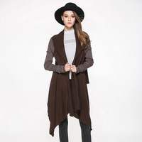 2017 Autumn Women Loose Knitwear Coat Oversize Knitted Poncho Capes Casual Knitting Shawl Coffee Long Cardigans