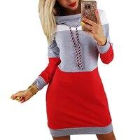 Frauen Winter Herbst Kleider Rollkragen Langarm Trainingsanzug Plus Größen-beiläufige Gestreifte Kapuzenpullover Kleid Vestido De Festa GV009