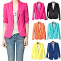Spring and autumn new women Europe  America candy color lining stripe suit a small buckle cultivating long-sleeved jacket
