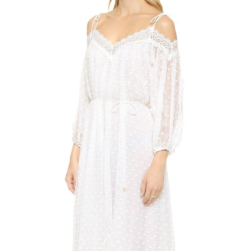 26e14acbe99 PERHAPS U white black lace dress polka dot midi chiffon strap v neck off  shoulder summer loose beach sundress long boho D0178