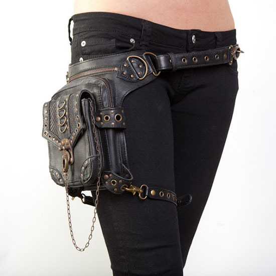Women Vintage Steampunk Bag Retro Steam Punk Gothic Waist Pack Victorian Style Shoulder Waist Bags Cosplay Accessory Leg Bag