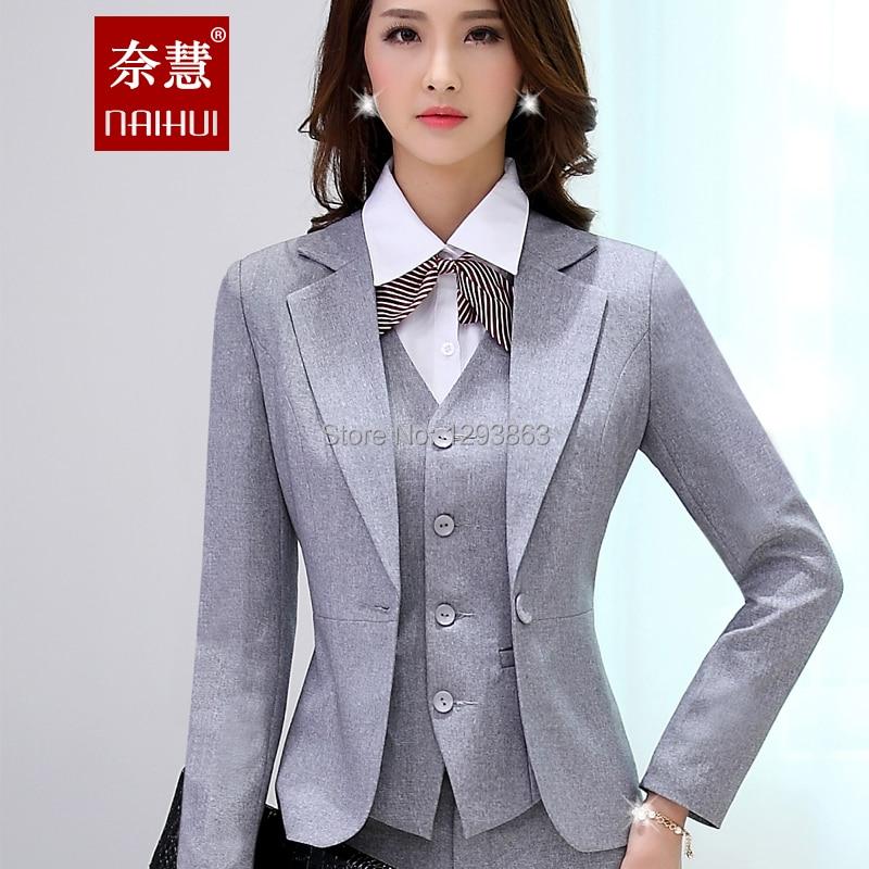 2016 Quality Slim Womens Grey Black Blazer Pant Female Formal Work