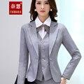 2016 quality Slim women's grey black blazer pant female formal work wear pants suit Business Work Wear cool 4 piece option Suits