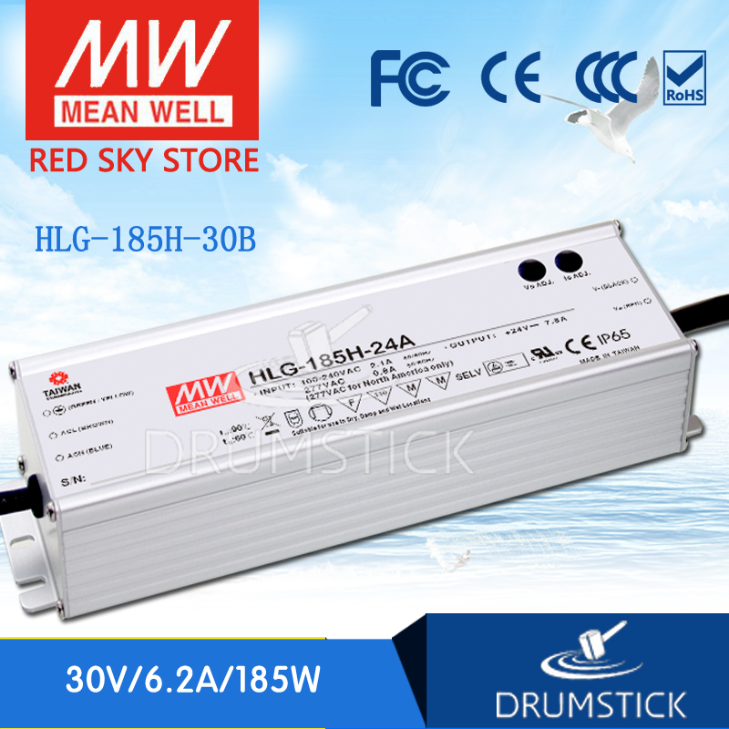 ФОТО Redsky1 Hot! MEAN WELL original HLG-185H-30B 30V 6.2A meanwell HLG-185H 30V 186W Single Output LED Driver Power Supply B type