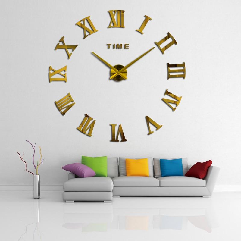New besar roman jam dinding cermin akrilik jam diy dekorasi rumah - Dekorasi rumah - Foto 5