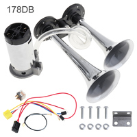 12V 178dB Super Loud Car Air Horn Tubes Dual Tone Air Horn Set Trumpet Compressor with Wires Relay for Motorcycle Car Boat Truck
