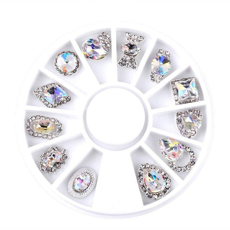 12 Shapes 3D White AB Arc Bottom Big Acrylic Diamond Alloy Nail Studs DIY  Manicure Tips Nail Art Decorations Wheel