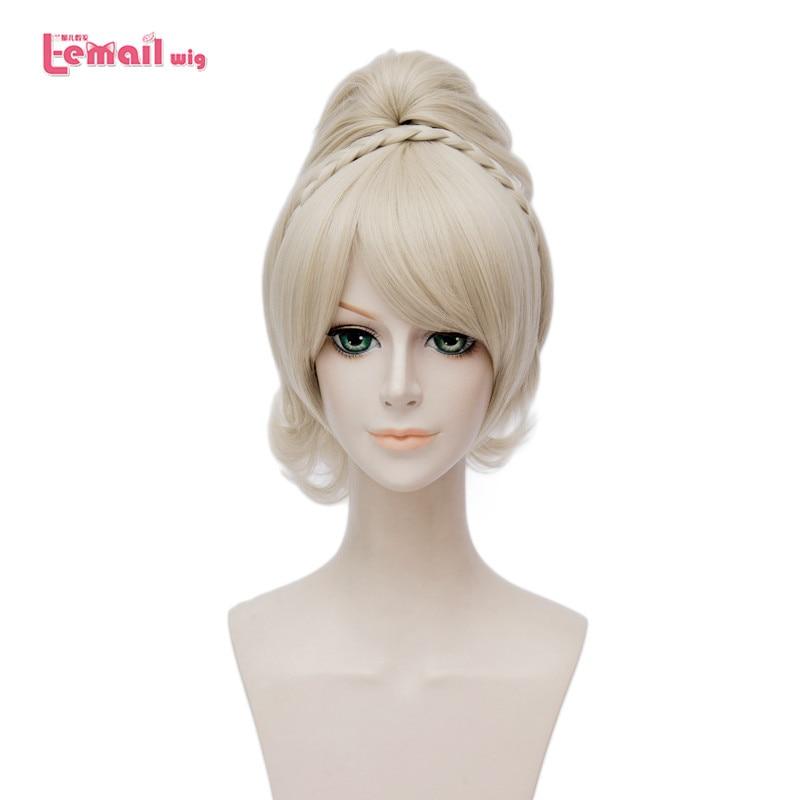 L-email Wig New Game Final Fantasy Lunafreya Nox Fleuret Blonde Cosplay Wigs Heat Resistant Synthetic Hair Perucas Cosplay Wig