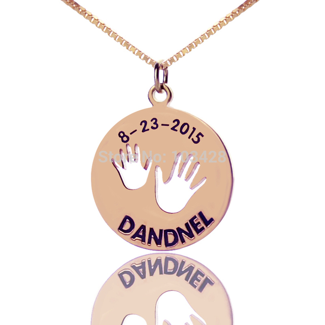 Personalized name bar necklace rose gold color monogram disc personalized name bar necklace rose gold color monogram disc necklace lovely baby handprint engraved pendant children mozeypictures Choice Image